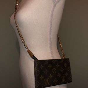 💯 LOUIS VUITTON MONOGRAM BAG POUCHETTE CROSSBODY